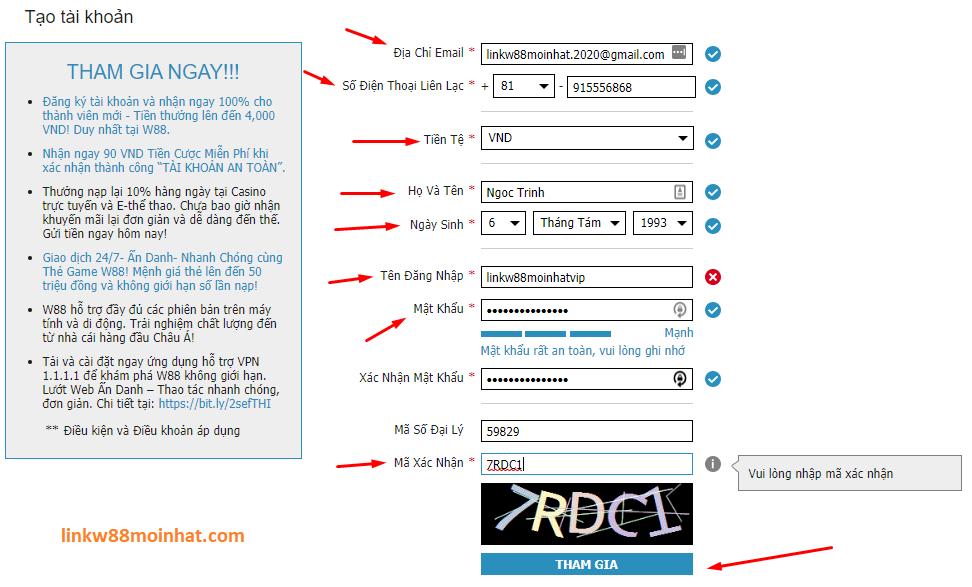 Điền chính xác thông tin để đăng ký tài khoản w88